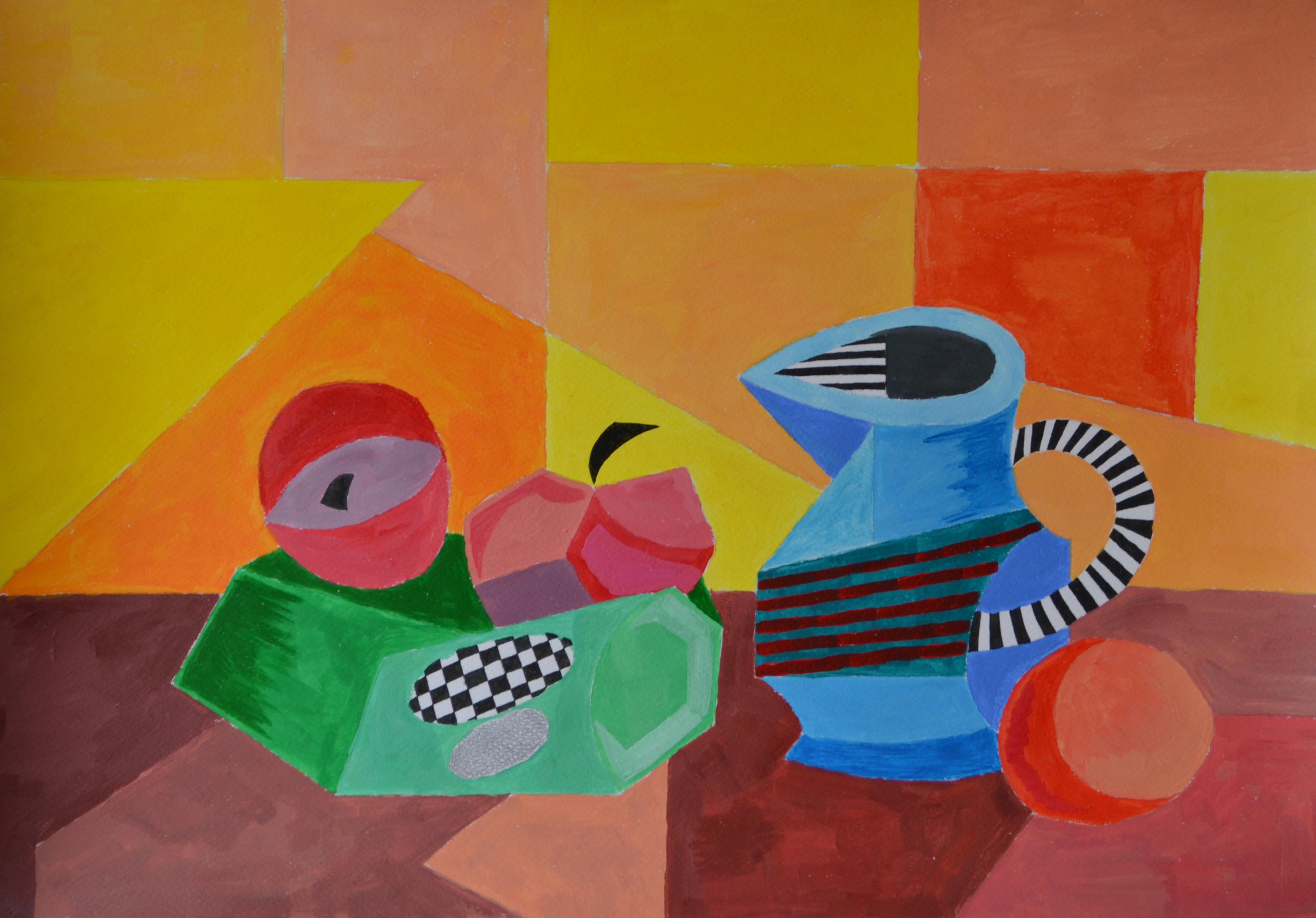 """Йордан Кечев, специалност """"Изобразително изкуство"""", Кубистичен натюрморт, 2017 / Jordan Kechev, degree programme """"Fine Arts"""", Cubist Still Life  2017"""