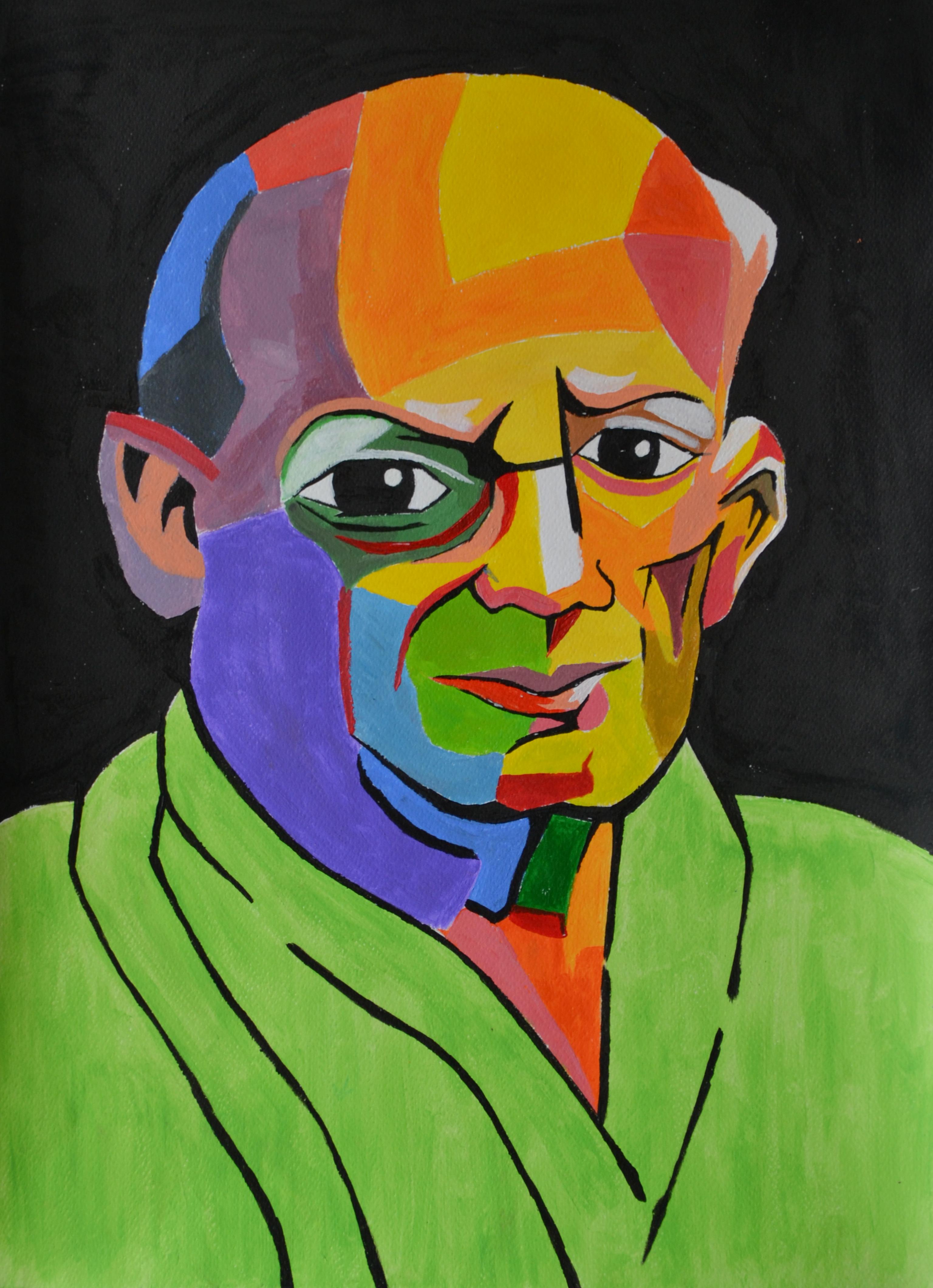 """Йордан Кечев, специалност """"Изобразително изкуство"""", Портрет на Пикасо, 2017  / Jordan Kechev, degree programme """"Fine Arts"""", Portrait of Picasso, 2017"""