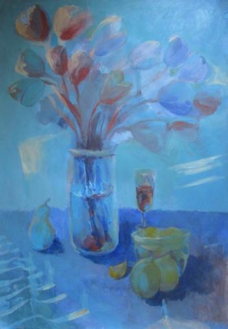 Анна Икономова, Натюрморт в синьо, 2019 / Anna Ikonomova, A Still Life in Blue, 2019